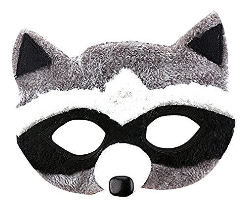 [Maze Cute Textile Brown Black White Gray Stylized Animals Half Face Masks, Wolf One Size] (Homemade Wolf Costumes For Kids)