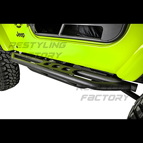 Restyling Factory 97-06 Jeep Wrangler TJ Rock Crawler Body Side Armor Rocker Guard Rock Sliders 1 Pair w/ Step 2 Door Tube Running Boards (Black)