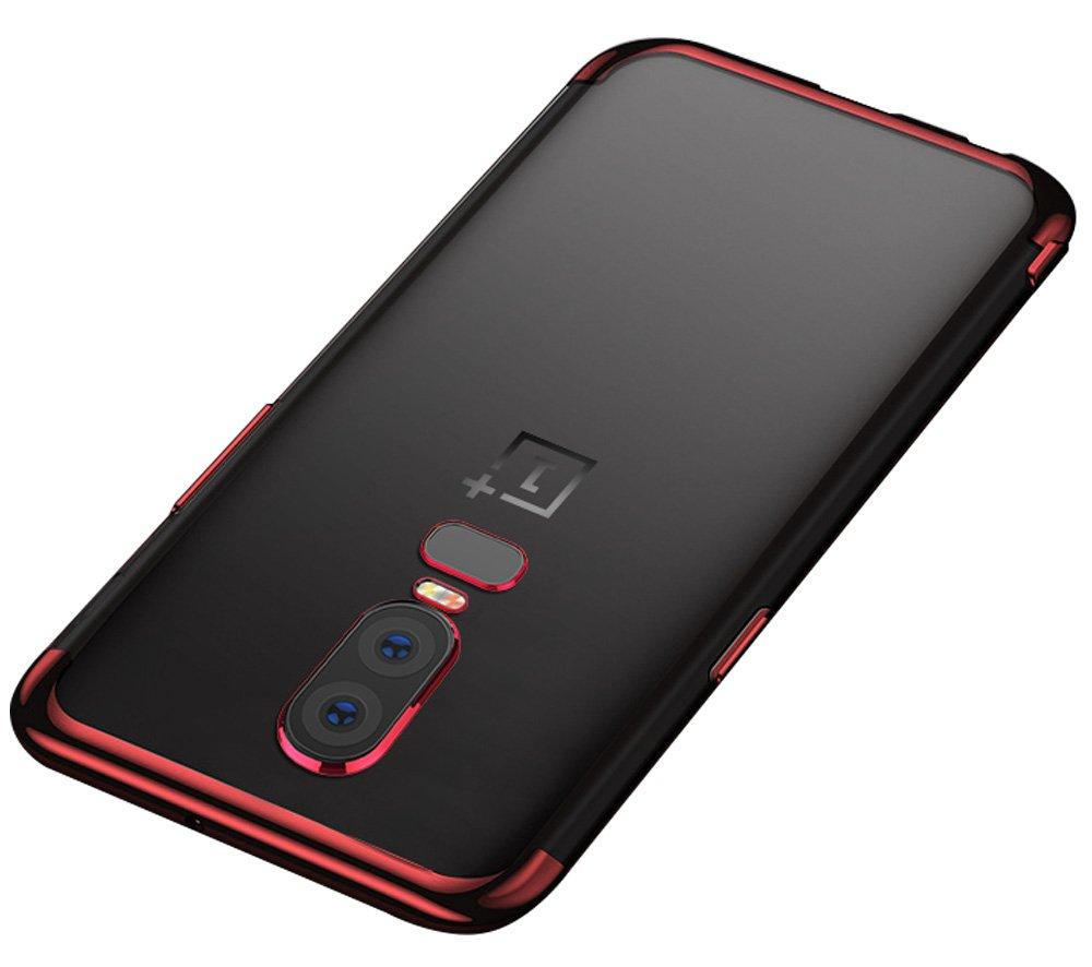 BLUGUL Funda OnePlus 6, Electroplating Coloring, Ultra Fina, Transparente Suave TPU Silicona Cover Claro Case para OnePlus 6 Oro Rosa PC.DD.ONEPLUS6.ROSEGOLD