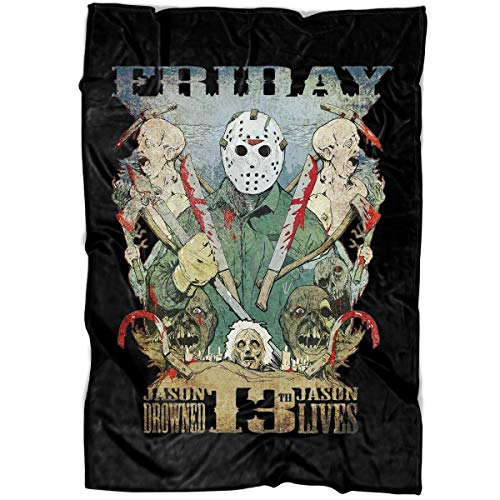 MOTABAG Scary Jason Voorhees Soft Fleece Throw Blanket, Friday The 13th Halloween Fleece Luxury Blanket (Large Blanket (80
