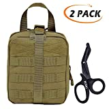 Tactical MOLLE EMT Medical Bag,IFAK Rip Away First Aid Pouch,Emergency Survival Storage Gear Kit(Stainless Steel Trauma Scissors Shear+Velcro Patch)