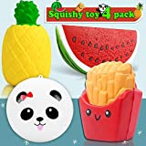 4 Pack Squishies Jumbo Slow Rising Panda Bun Pineapple French Fries Watermelon Scented Soft Stress Relief Squishy Holiday Toys Party Favors Decorations for Kids Adults Valentine Day Gift