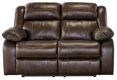 Ashley Furniture Signature Design - Branton Reclining Love Seat - Leather Power Recliner Sofa - Contemporary Style - Antique Brown - Contemporary Style Loveseat