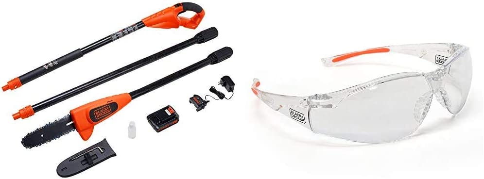 BLACK+DECKER 20V MAX Pole Saw, 8-Inch with Safety Eyewear, Lightweight, Clear lens (LPP120 & BD250-1C)
