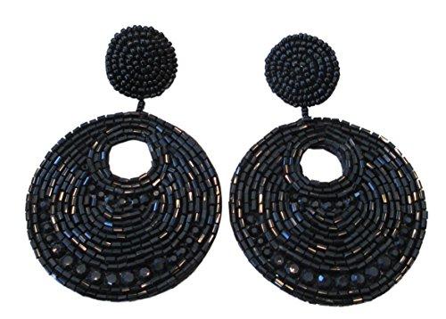 Kenneth Lane Resin Earrings - Kenneth Jay Lane Black Seed Bead Gypsy Beaded Drop Pierced Earrings