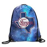 ZOENA Texas Ranger Baseball Durable Drawstring Pack Sports Valise Bag