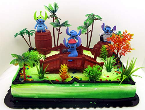 (Lilo and Stitch Birthday Cake Topper Set Featuring Random STITCH Figures and Decorative Themed Accessories)