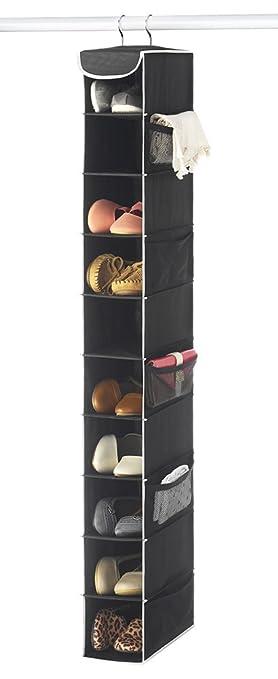 Zober 10 Shelf Hanging Shoe Organizer, Shoe Holder For Closet   10 Mesh  Pockets
