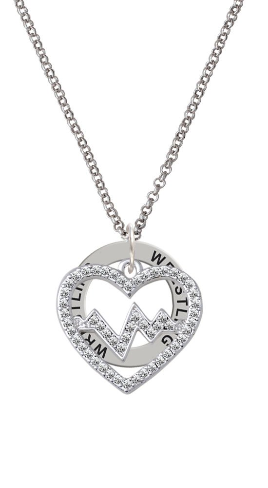 Large Clear Crystal Heart with Heartbeat - Wrestling Affirmation Ring Necklace by Delight Jewelry