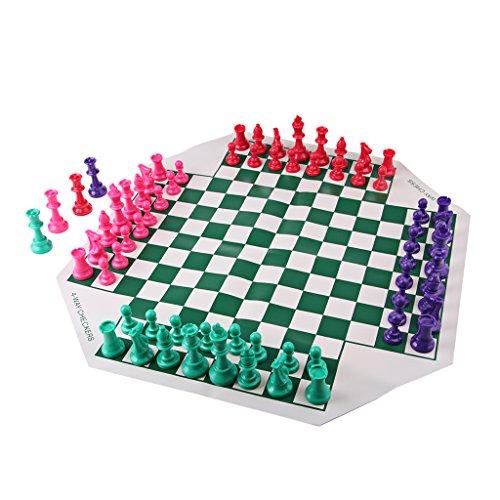 Homyl Juego De Ajedrez Para Cuatro Jugadores Con Tablero De Ajedrez Suave, 64 Chessman Para Niños Y Adultos