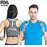 Orthopedic Posture Corrector for Men and Women by NZK in Premium Gray Color ✮ FDA APPROVED! ✮ Posture Support for Clavicle, Shoulder & Upper Back ✮ Posture Brace to cure Scoliosis, Kyphosis, Slouching