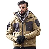 FREE SOLDIER Men's Jacket Plush Lined Softshell Tactical Jacket with Multi-Function Pockets Hooded Jacket (Brown, L)