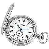 Gotham Men's Silver-Tone Double Hunter Deluxe 17 Jewel Mechanical Pocket Watch # GWC18805SR