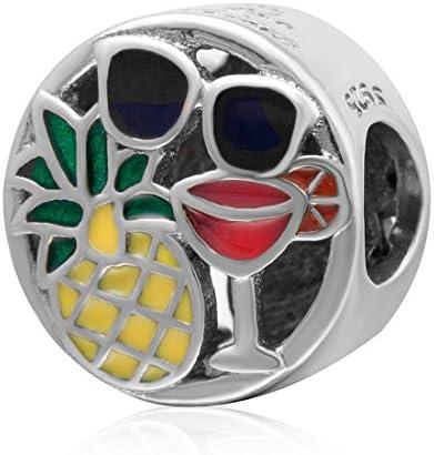 925 Sterling Silver Travel Charm Pineapple Charm Sunglasses Charm Wine Cup Charm Anniversary Charm For Pandora Charms Bracelet Amazon Ae
