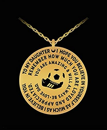 Amazon soccer necklace for daughter gold laser engraved soccer necklace for daughter gold laser engraved pendant from dad inspirational gift charm aloadofball Gallery