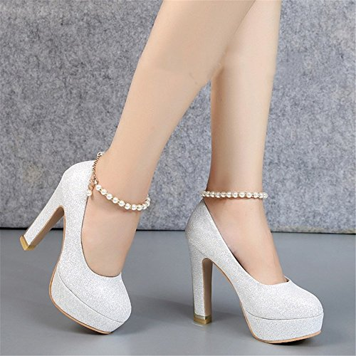 Shoes High Crystal Spring With Autumn HXVU56546 Silver Shoes C And Season Bride Lady New Heels fSnvZq