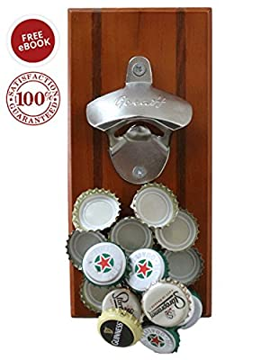 ONE DAY SALE Magnetic/Wall-Mounted Beverage Bottle Opener with Bottle Cap Catcher for No-Mess Convenience - Easy to Hang and Fun to Use - Bonus eBook and Hardware Included - Premium Quality