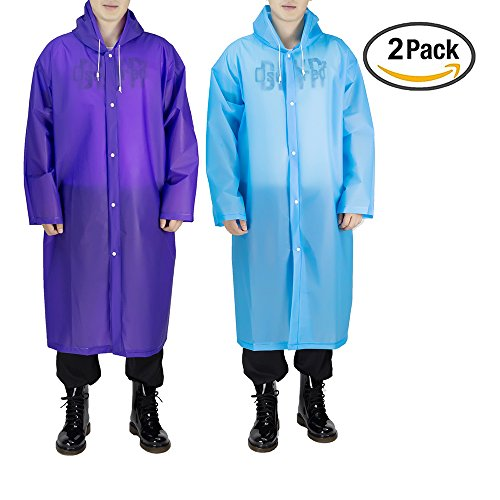 Coat Raincoat (Portable Adult Rain Poncho(2 pack), Opret Reusable Raincoat with Hoods and Sleeves, Size 45.2