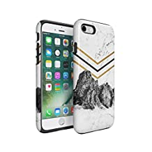 Rocky Mountains On White Cracked Marble Hard Plastic Shell & TPU Bumper Double Layer Tough Phone Case For Apple iPhone 7
