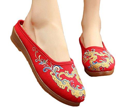 Avacostume Da Donna Cinese Tradizionale Drago Ricamo Piccolo Cuneo Pantofole Rosse