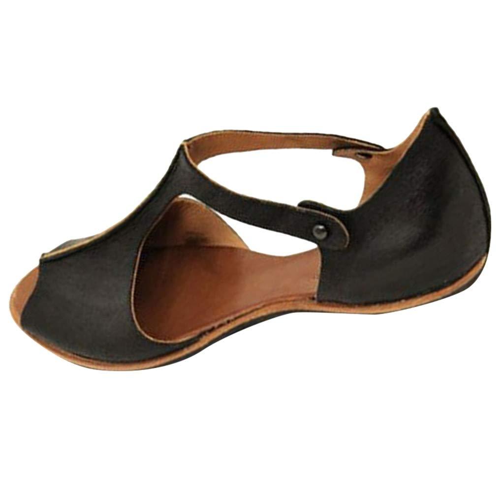 Orangeskycn Women Sandals Plus Size Summer Retro Fashion Fish Mouth Flat Beach Shoes Open Toe Ankle Bottom Roman Sandals Black