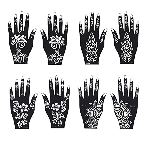 Henna Floral Tattoos - Henna Tattoo Stencil/Temporary Tattoo Temples Set of 8 Sheets,Indian Arabian Tattoo Reusable Stickers Stencils Body Art Designs for Hands