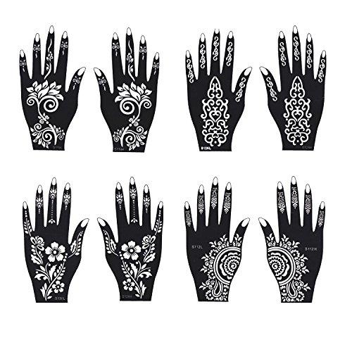 Jual Henna Tattoo Stencil Temporary Tattoo Temples Set Of 8 Sheets