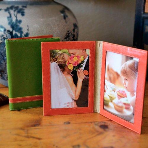ALICIA KLEIN Olive Green Leather Double Photo Frame