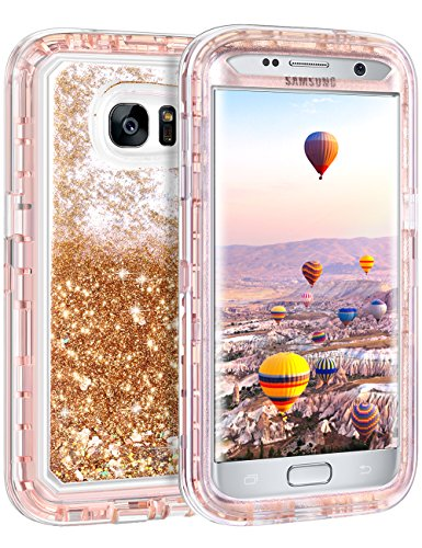 Samsung Galaxy S7 Edge Case, Coolden Luxury Floating Glitter Case Sparkle Bling Quicksand Liquid Cover Shockproof Bumper Dual Layer Anti-Drop PC Frame + TPU Back for Galaxy S7 Edge (Light Coffee)