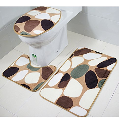 ASO-SLING 3pcs Bathmat Set Non Slip Mats, Toilet U-Shaped Floor Rugs,Absorbent Pedestal Pads Lid Cover Bath Carpets for Indoor Bathroom,Fancy (Asos Set)