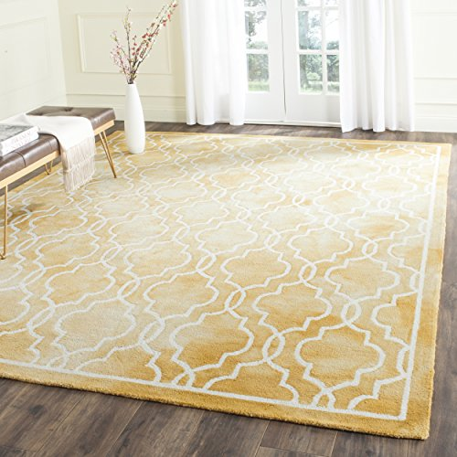 Safavieh Dip Dye Collection DDY539H Handmade Geometric Moroccan Watercolor Gold and Ivory Wool Area Rug (8′ x 10′)