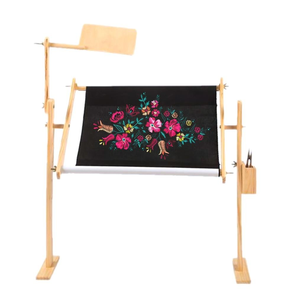 Cross Stitch Frame Floor Stand,Adjustable Cross Stitch Desktop Stand Wooden Embroidery Tapestry Frame Stand,Embroidery Frame Bed Feileng