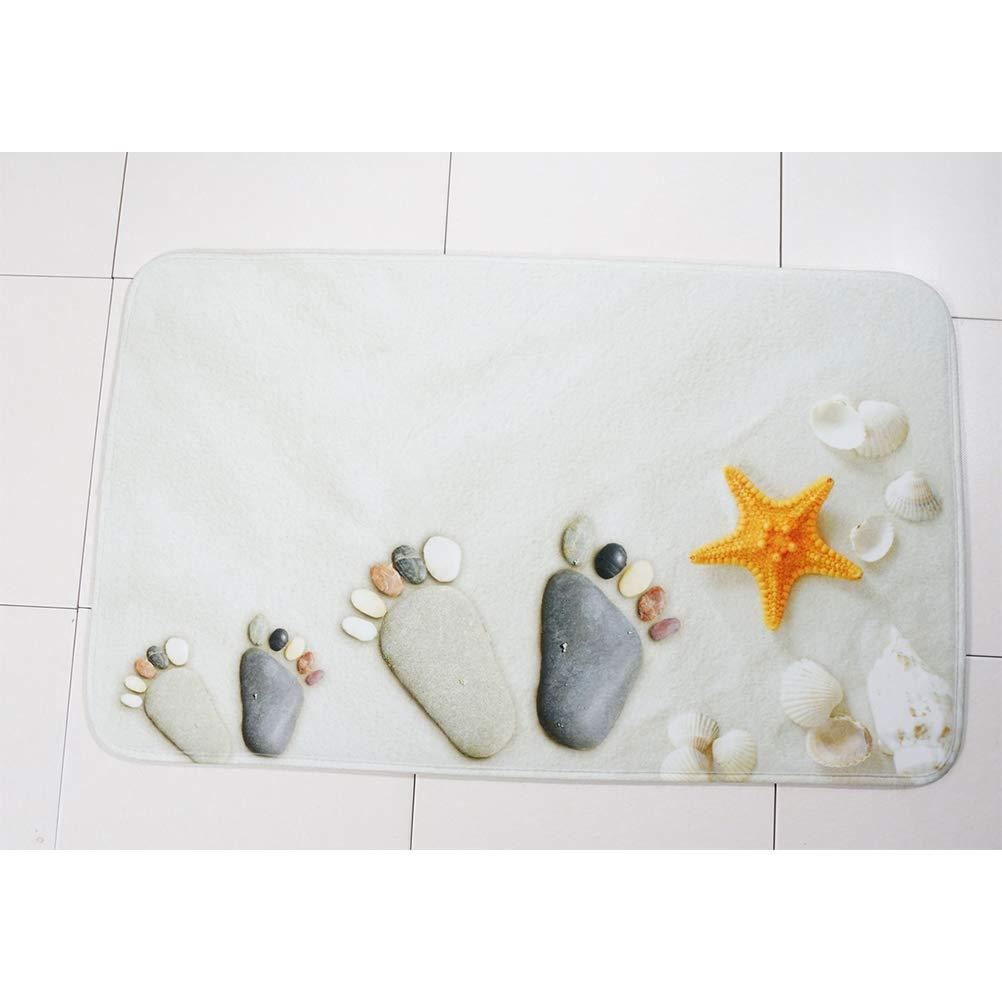 Wei/ß Sand F/ü/ße Starfish OUNONA 3 St/ücke Weicher Druck Bad WC-Teppich Mehltau Beweis Rutschfeste Badematte U-f/örmige WC-Matte Toilettendeckel Abdeckung f/ür M/änner Frauen Kinder Bad Zubeh/ör