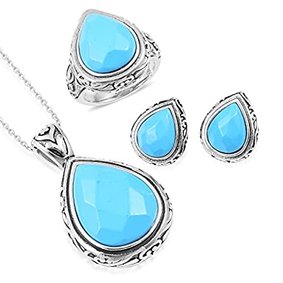 new Blue Howlite Black Oxidized Stainless Steel Earrings, Ring and Pendant With Chain 20 in Size 9