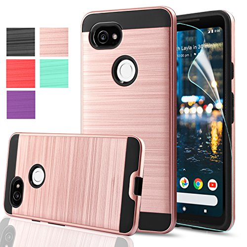 Google Pixel 2 XL Phone Case,Google Pixel XL 2 Case,AnoKe Double Layer Heavy Duty Premium Soft TPU and Rugged Armor Hard PC Shockproof Protective Phone Cases for Google Pixel 2 XL VLS Rose Gold