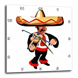 3dRose Mexican Violin Player - Wall Clock, 15 by 15'' (dpp_164328_3)