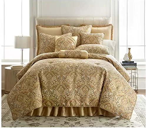 3 Piece Woven Jacquard Pattern Comforter Set Queen Size, Featuring Beautiful Damask Design Comfortable Bedding, Contemporary Stylish Elegant Style Adult Bedroom Decoration, Gold, Grey, - Gold Woven Comforter Jacquard