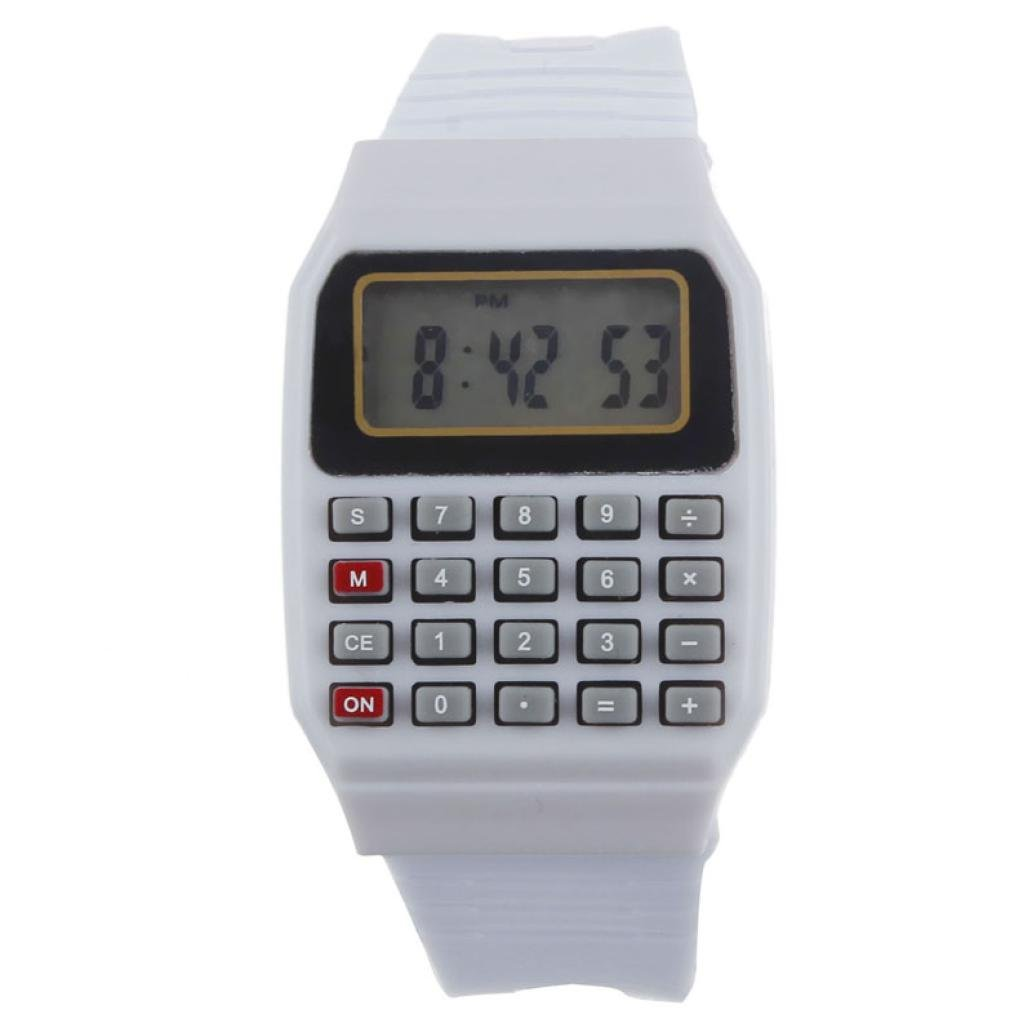 SMTSMT Children's Multi-Purpose Time Wrist Calculator Watch- White