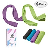 DARUNAXY 4pack Evaporative Cooling Towels 40''x12'',Snap Cooling Towels for Sports, Workout, Fitness, Gym, Yoga, Pilates, Travel, Camping and More,Mix Colors