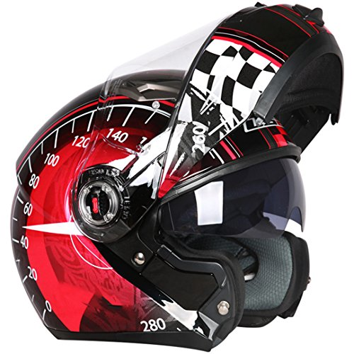 Amazon.com: TOUKUI Motorcycle Helmet Moto Cafe Racing Helmet Flip Full Face Double Lens Visor: Sports & Outdoors