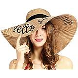 Womens Sun Hat Foldable Floppy Travel Packable UV Summer Beach Straw Hats UPF50 (Khaki)