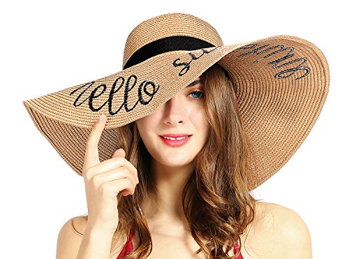 Womens Sun Hat Foldable Floppy Travel Packable UV Summer Beach Straw Hats UPF50 (Khaki) (Beach Straw Sun Hat)