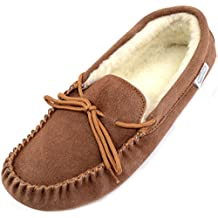 SNUGRUGS Mens Suede Sheepskin Moccasin Slippers with Wool Lining and Soft Sole