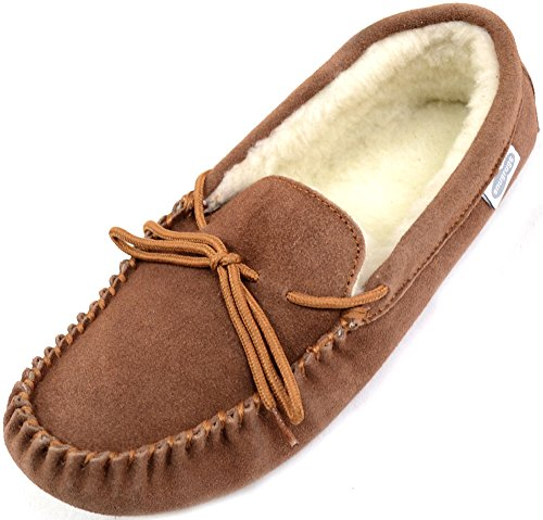 Alfie Wool Mocasines para Moccasin Lined Marrón Light Hombre SNUGRUGS Slippers Brown qpBndC5wq6