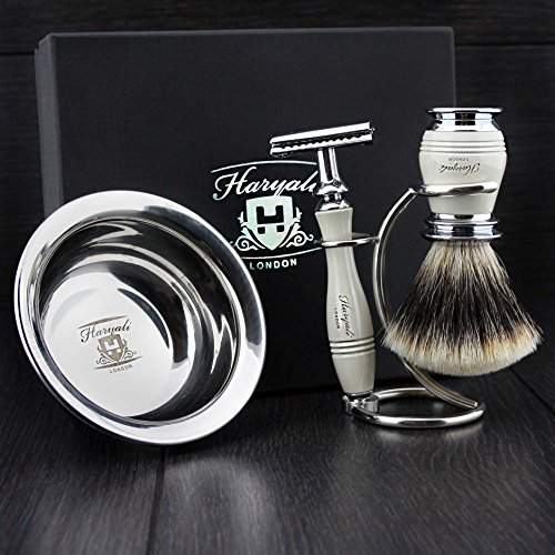 Ivory Colour 4 Pieces Men's Shaving Kit With De Safety Razor,Sliver Tip Badger Hair Brush, Dual Stand for Both Razor&Brush and Stainless Steel Bowl.Perfect 4 PCs Gift Kit for Him. LIMITED EDITION !!!! by Haryali London