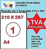 20 feuilles A4 papier adhésif blanc - Étiquette autocollante 210x297mm - planche adhésive permanente de 1 etiquette marque UNIVERS GRAPHIQUE- UGEA4 FACTURE AVEC TVA DÉDUCTIBLE