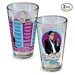 ICUP Archer Drinking Game Pint Glass, 16 oz 2 Pack by ICUP