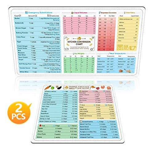 - Kitchen Conversion Chart Magnet and Magnetic Fridge Freezer Shelf Life Guide for Cooking, Baking and 35 Common Food Preservation