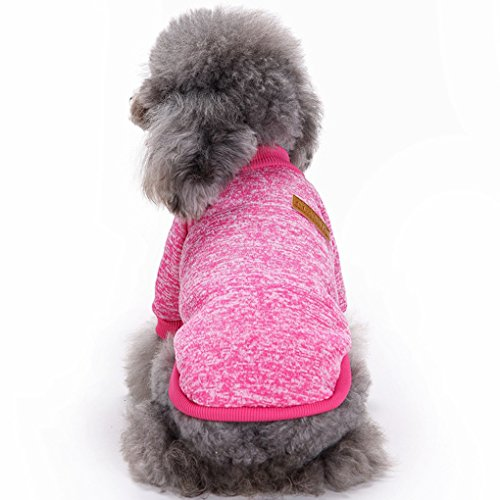 Fashion Focus On Pet Dog Clothes Knitwear Dog Sweater Soft Thickening Warm Pup Dogs Shirt Winter Puppy Sweater for Dogs (Rose red, XXS)