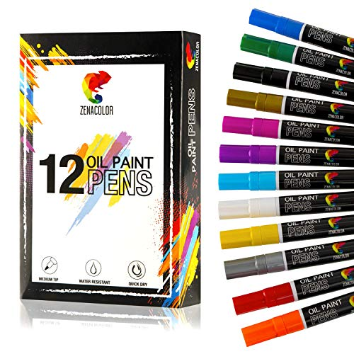 ⭐ 12 Permanent Oil Paint Pens for Rock Painting, Metal, Glass, Wood, Paper - 12 Different Colors Paint Pen - Medium-Sized Tips - Marker Pen for Almost Any Surfaces or Materials